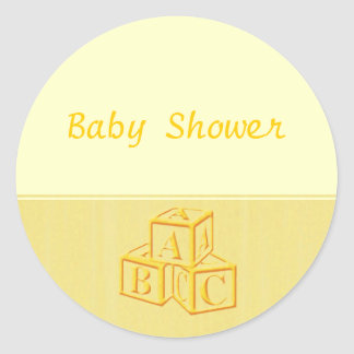Baby Shower blocks Classic Round Sticker