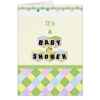 Baby Shower Blocks Note Card Invitations