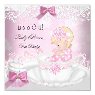 Baby Shower Blonde Girl Pink Baby Teacup Cupcake 5.25x5.25 Square Paper Invitation Card