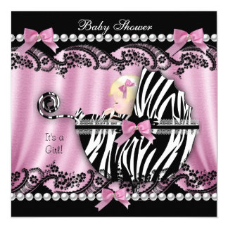Baby Shower Blonde Haired Girl Pink Zebra 2 5.25x5.25 Square Paper Invitation Card