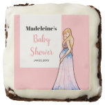 Baby Shower Blonde Lady in Maternity Long Dress Brownie
