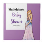 Baby Shower Blonde Lady in Maternity Long Dress Ceramic Tile