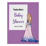 Baby Shower Blonde Lady in Maternity Long Dress Poster