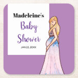 Baby Shower Blonde Lady in Maternity Long Dress Square Paper Coaster