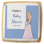 Baby Shower Blonde Lady in Maternity Long Dress Square Shortbread Cookie