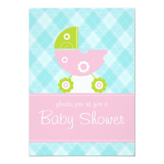 Baby shower blue and pink invitation card