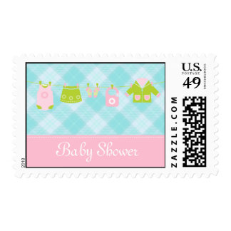 Baby shower blue and pink invitation postage