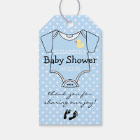 Baby Shower Blue and White Polka Dots Gift Tags