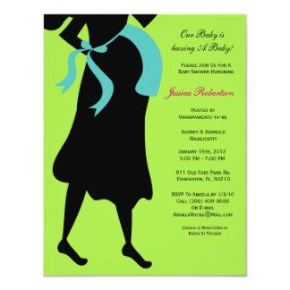"Baby Shower, Blue Boy Baby Bump, 4.25"" X 5.5"" Invitation Card"