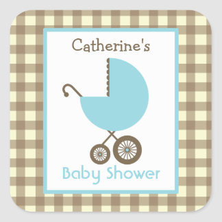 Baby Shower Blue Carriage & Brown Gingham Square Sticker