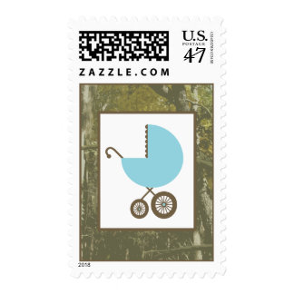 Baby Shower  - Blue Carriage & Camouflage Postage