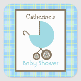Baby Shower Blue Carriage & Plaid Square Sticker