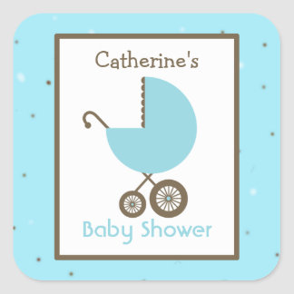 Baby Shower Blue Carriage & Robin's Egg Square Sticker
