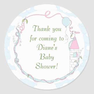 "Baby Shower Blue/Castle Stickers 1 1/2"" or 3"""
