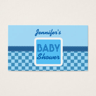 BABY SHOWER Blue Checks Pattern G01 for Boy Business Card