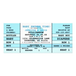 Baby Shower Blue Concert Ticket Invitation