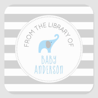 Baby Shower blue elephant BOOK,  boy bookplate