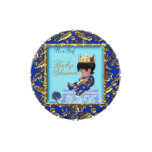 Baby Shower Blue Gold Boy crown prince Favor Jelly Belly Candy Tins