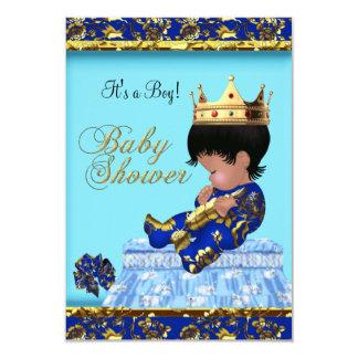 Baby Shower Blue Gold Boy prince Card