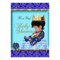 Baby Shower Blue Gold Boy Prince Custom Invitations