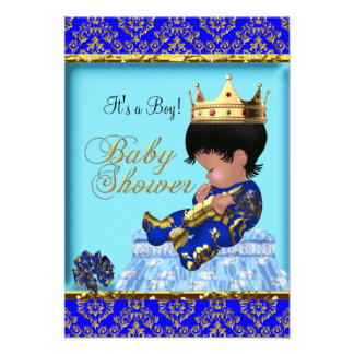 Baby Shower Blue Gold Boy Prince Custom Invitations