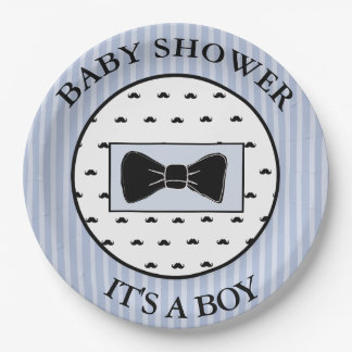 Baby Shower  Blue Mustache and Bowtie Plates