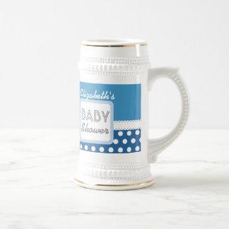 BABY SHOWER Blue Polka Dots A20B Custom Name Beer Stein
