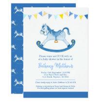 Baby shower blue rocking horse invitations