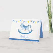 Baby shower blue rocking horse watercolor art card
