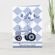 Baby Shower Blue Tractor with Balloons Card