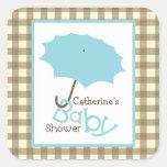 Baby Shower Blue Umbrella & Brown Gingham Square Sticker