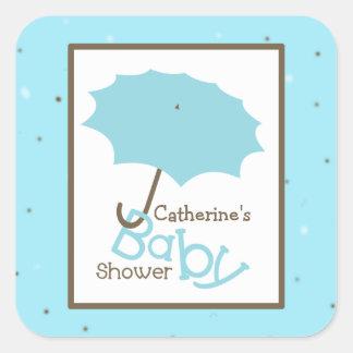 Baby Shower Blue Umbrella & Robin's Egg Square Sticker