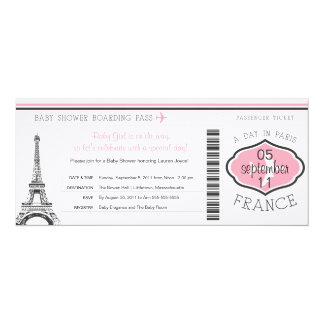 Baby Shower Boarding Pass to Paris 4x9.25 Paper Invitation Card