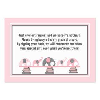 Baby shower book insert pink gray elephants