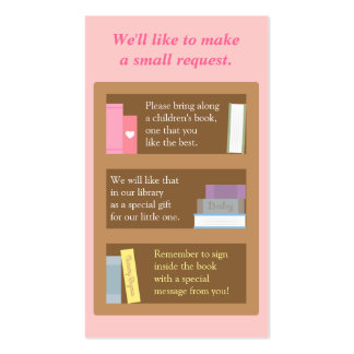 Baby Shower Book Insert Request Card Business Card Templates