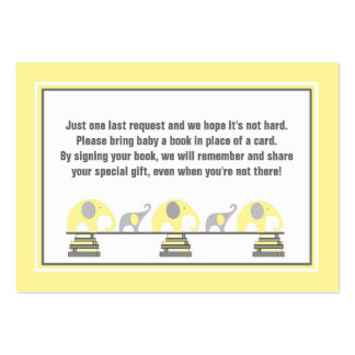 Baby shower book insert yellow gray elephants large business cards (Pack of 100)