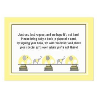 Baby shower book insert yellow gray elephants