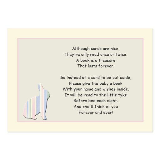 Baby Shower Book Poem Pink Insert Card Business Cards
