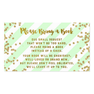 Baby Shower Book Request Card Mint Gold Confetti