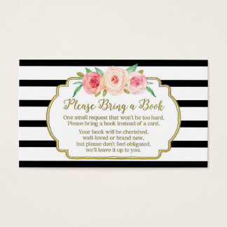 Baby Shower Book Request Card Pink Floral Black