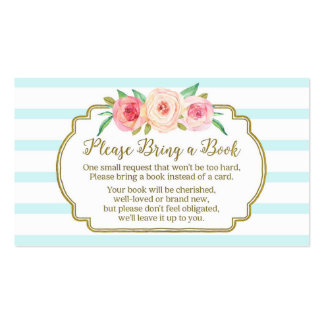 Baby Shower Book Request Card Pink Floral Blue