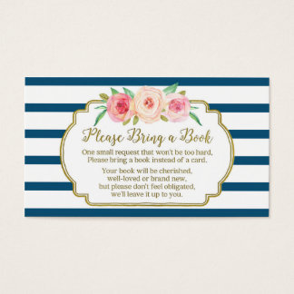 Baby Shower Book Request Card Pink Floral Navy