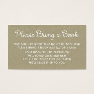 Baby Shower Book Request Card Rustic Burlap