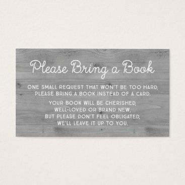 Toddler & Baby themed Baby Shower Book Request Card Rustic Grey Wood