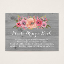 Baby Shower Book Request Card Rustic Wood Floral