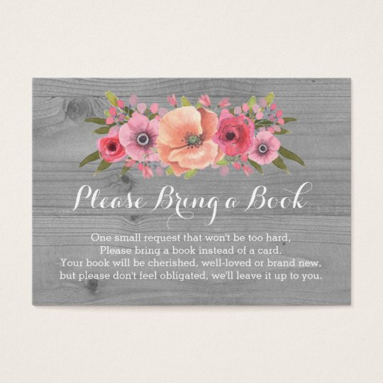 High Quality Baby Shower Book Request Card Rustic Wood Floral