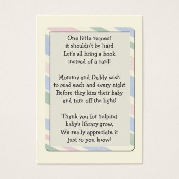Toddler & Baby themed Baby Shower Book Request Insert  Card