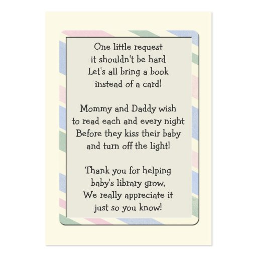 Baby Shower Book Request Insert Card Large Business Cards (pack Of 100)
