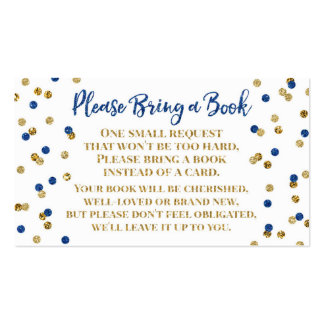Baby Shower Book Request Navy Blue Gold Confetti Business Card