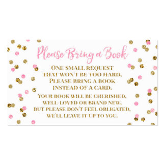 Baby Shower Book Request Pink Gold Confetti Business Card